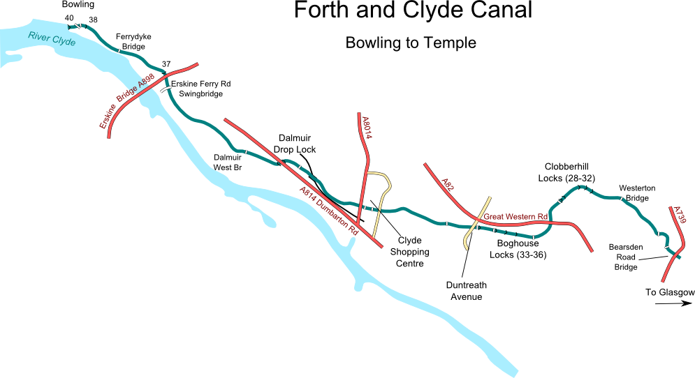 Map of Forth and Clyde Canal from Bowling to Temple