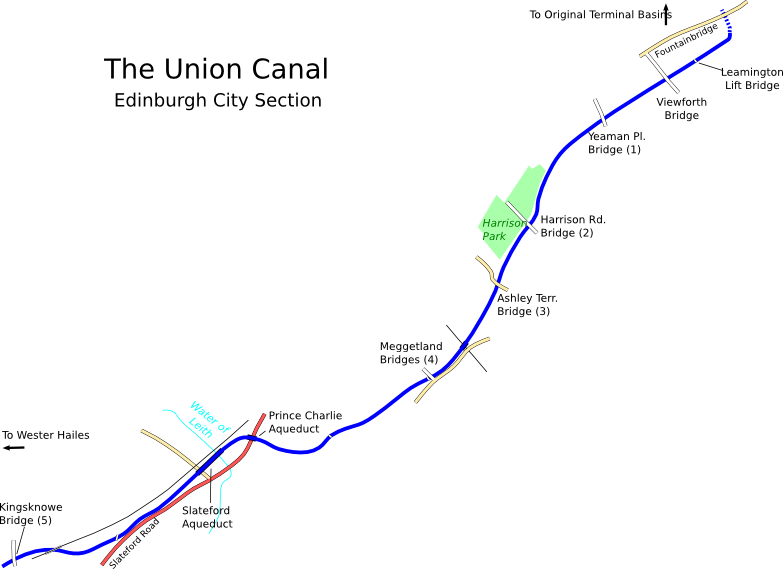 Map of Union Canal Edinburgh Section