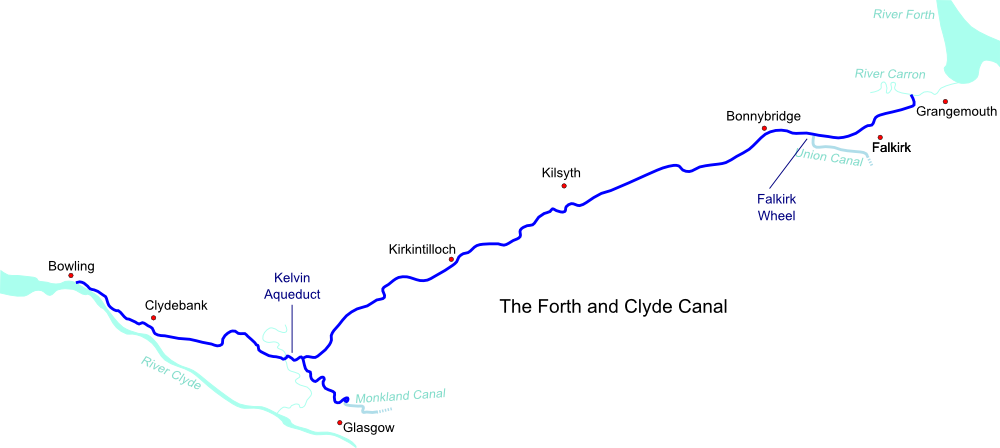Map of Forth and Clyde Canal
