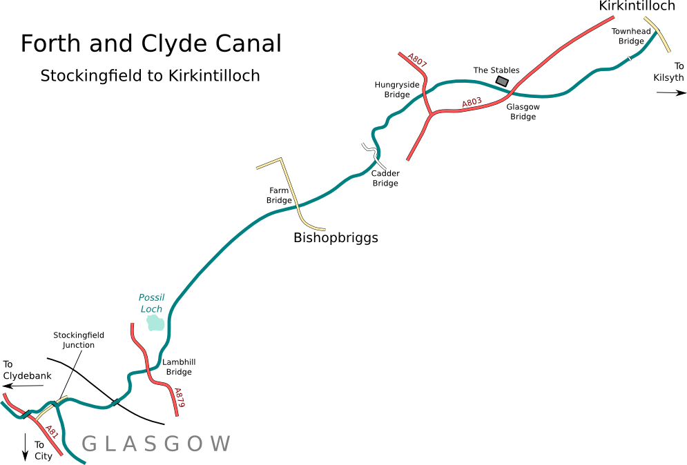 Map of Forth and Clyde Canal from Glasgow to Kirkintilloch