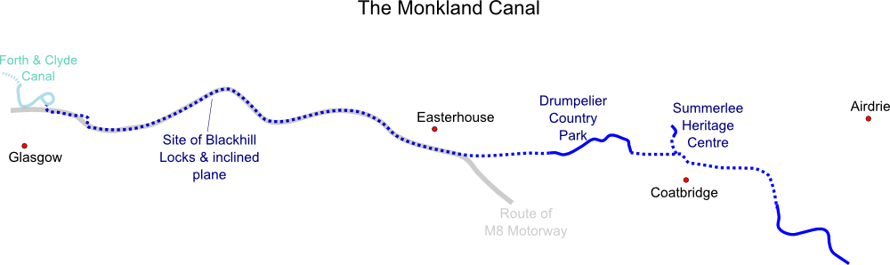 Map of Monkland Canal