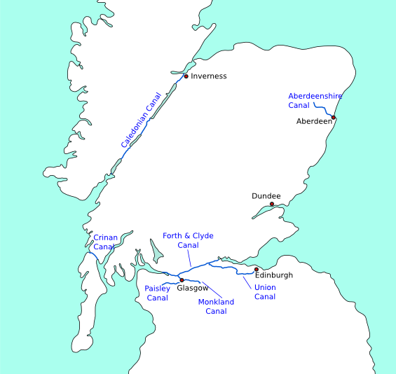 Map of canals of Scotland