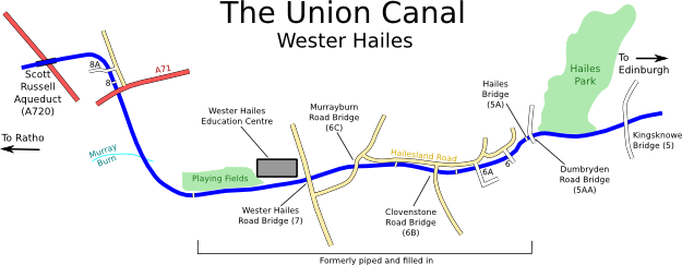 Map of Union Canal through Wester Hailes